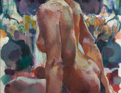 Девушка на фоне черепа. 120×80. 2018
